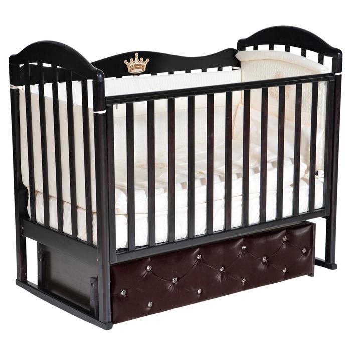 Кроватка Anita 9, мягкий фасад, автостенка, ящик, универсальный маятник, цвет шоколад - фото 9020910