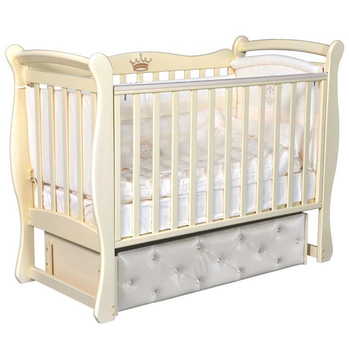 Кроватка Julia 1, мягкий фасад, автостенка, ящик, маятник, цвет слоновая кость - фото 9020916