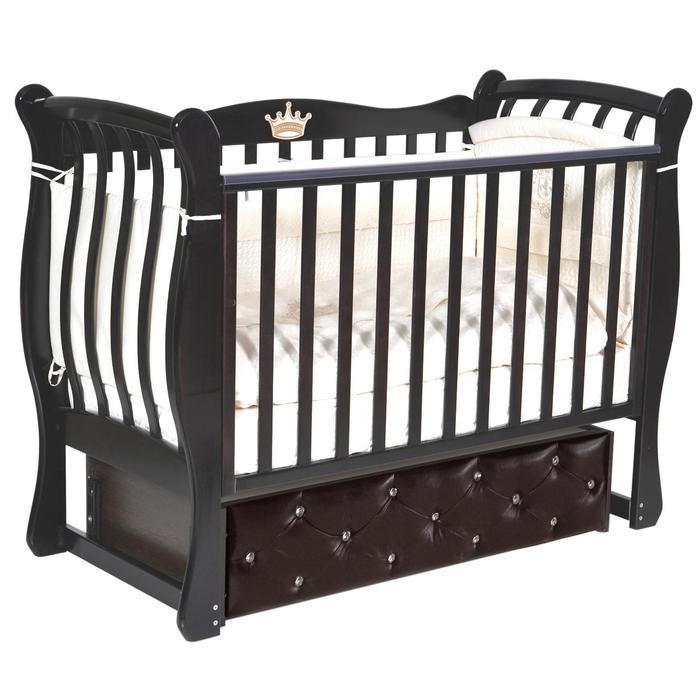 Кроватка Luiza 3, мягкий фасад, автостенка, ящик, универсальный маятник, цвет шоколад - фото 9020921