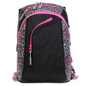 Рюкзак молодёжный, Merlin, 45 x 30 x 14 см, эргономичная спинка, чёрный/розовый