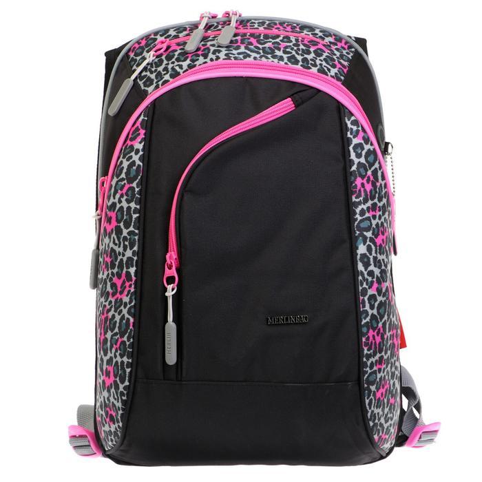 Рюкзак молодёжный, Merlin, 45 x 30 x 14 см, эргономичная спинка, чёрный/розовый - фото 815723