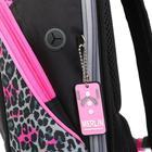 Рюкзак молодёжный, Merlin, 45 x 30 x 14 см, эргономичная спинка, чёрный/розовый - фото 815731