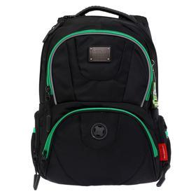 Рюкзак молодежный эргоном.спинка Merlin ACR20-137 43*33*13 мал, чёрный/зелён ACR20-137-14