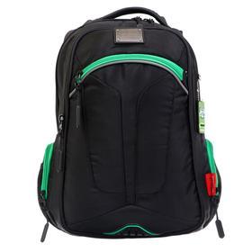 Рюкзак молодежный эргоном.спинка Merlin ACR20-137 43*33*13 мал, чёрный/зелёный ACR20-137-3