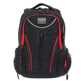 Рюкзак молодёжный, Merlin, 43 x 33 x 13 см, эргономичная спинка, чёрный/красный