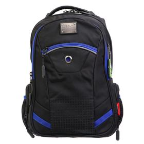 Рюкзак молодёжный, Merlin, 43 x 33 x 13 см, эргономичная спинка, чёрный/синий