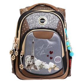 Рюкзак школьный эргоном.спинка Across DH5 39*29*17 дев, коричневый/серый DH5-3
