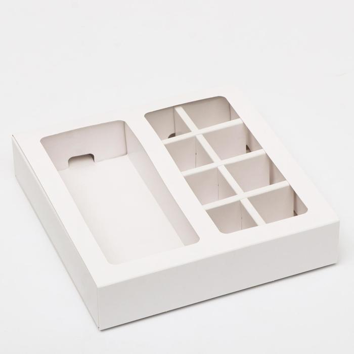 Коробка под 8 конфет + шоколад, с окном, белая, 17 х 5 х 17,5 х 3,7 см - фото 9021518