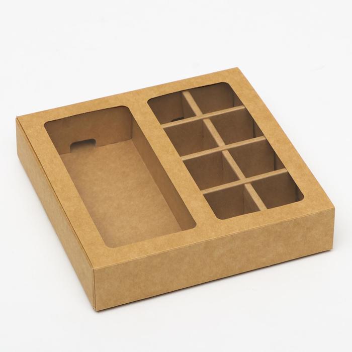Коробка под 8 конфет + шоколад, с окном, крафт, 17 х 5 х 17,5 х 3,7 см - фото 9021521