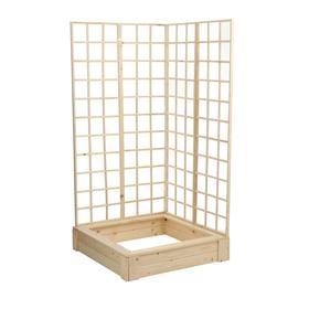 Грядка деревянная, 100 × 100 × 22 см, с двумя шпалерами h = 180 см, Greengo