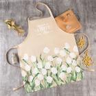 """Фартук """"Этель"""" Белые тюльпаны 60*70 см, 100% хлопок, саржа 190 г/м2 - фото 9021983"""