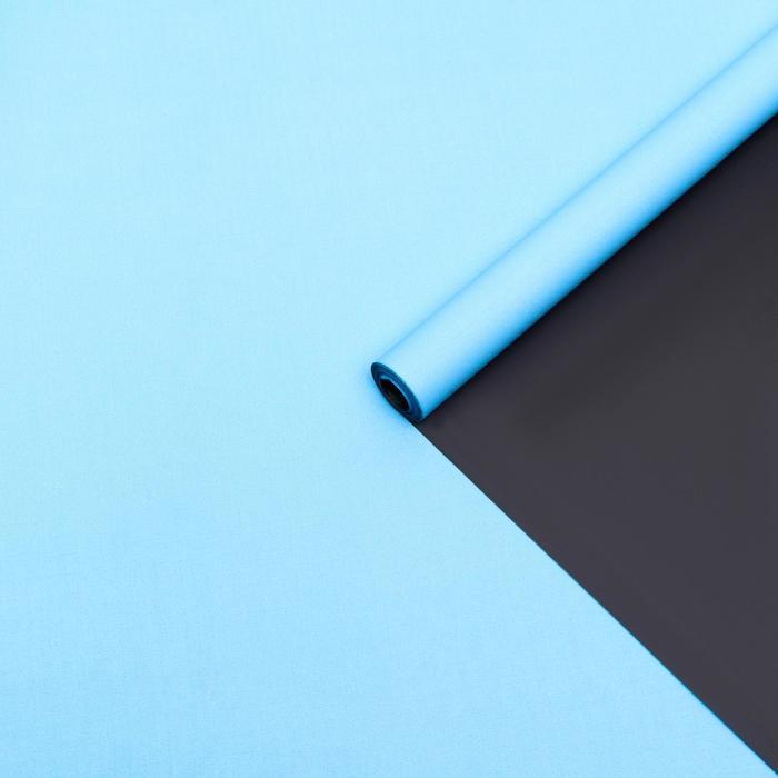 Бумага упаковочная крафт, двухсторонняя, голубой-черный, 0.55 х 10 м, 70 г/м² - фото 9022088