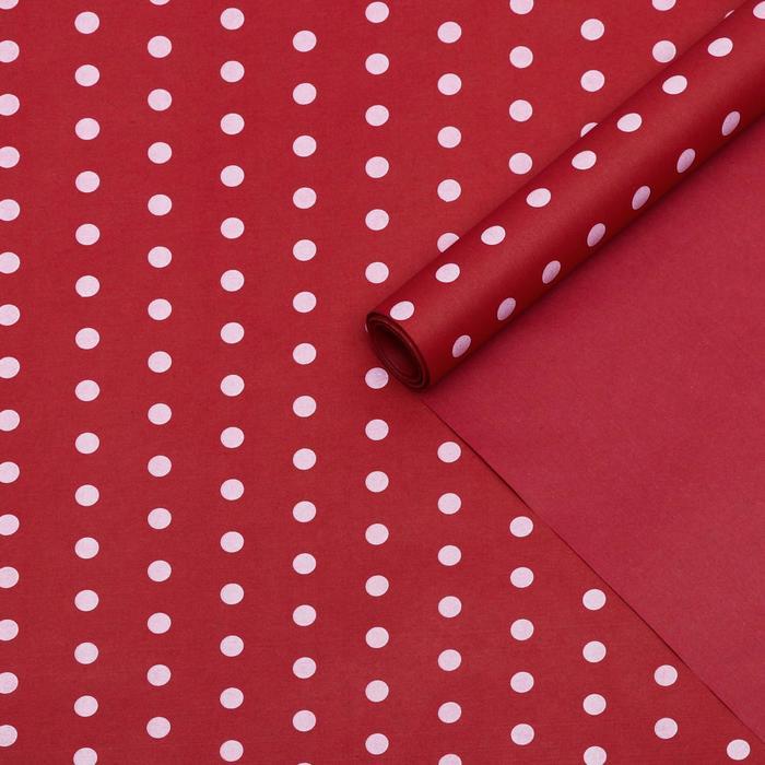 Бумага упаковочная крафт, двухсторонняя, горох на красном, 0,55 х 10 м, 70 г/м² - фото 9022090