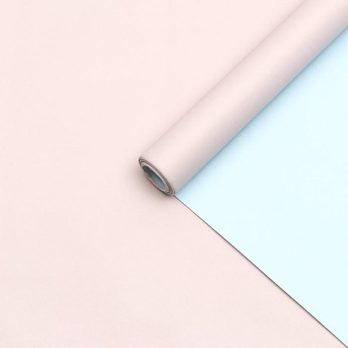Бумага упаковочная крафт, двухсторонняя, пастельно-серо-голубой, 0.55 х 10 м, 70 г/м² - фото 9022092