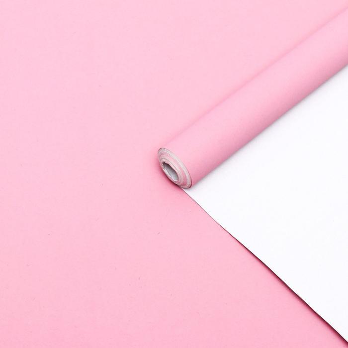 Бумага упаковочная крафт, двухсторонняя, белый-нежно розовый, 0.6 х 10 м, 70 г/м² - фото 9022096