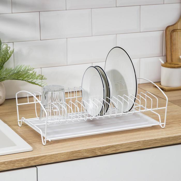 Сушилка для посуды с поддоном, 39×25×12 см, цвет белый - фото 729607