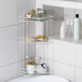 Полка для ванной угловая 3-х ярусная, 23×23×58,5 см, цвет белый
