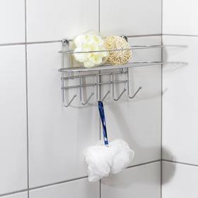Полка для ванной овальная, 5 крючков, 33×12,5×21 см, цвет хром