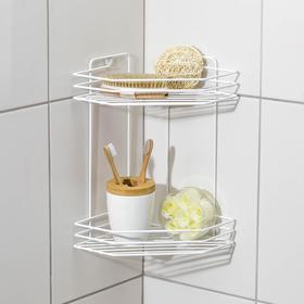 Полка для ванной угловая 2-х ярусная, 20,5×20,5×31,5 см, цвет белый