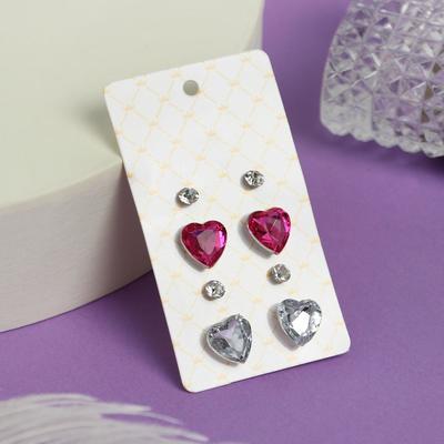 """Пусеты 4 пар """"Романтика"""" сердечки, цвет бело-розовый в серебре"""