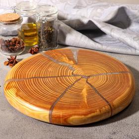 Спил лиственницы, эпоксидная смола, диаметр 23 см, толщина 2 см