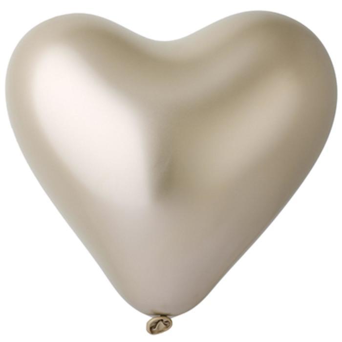 "Шар латексный 12"", сердце, хром Shiny, золото, набор 25 шт. - фото 7390946"