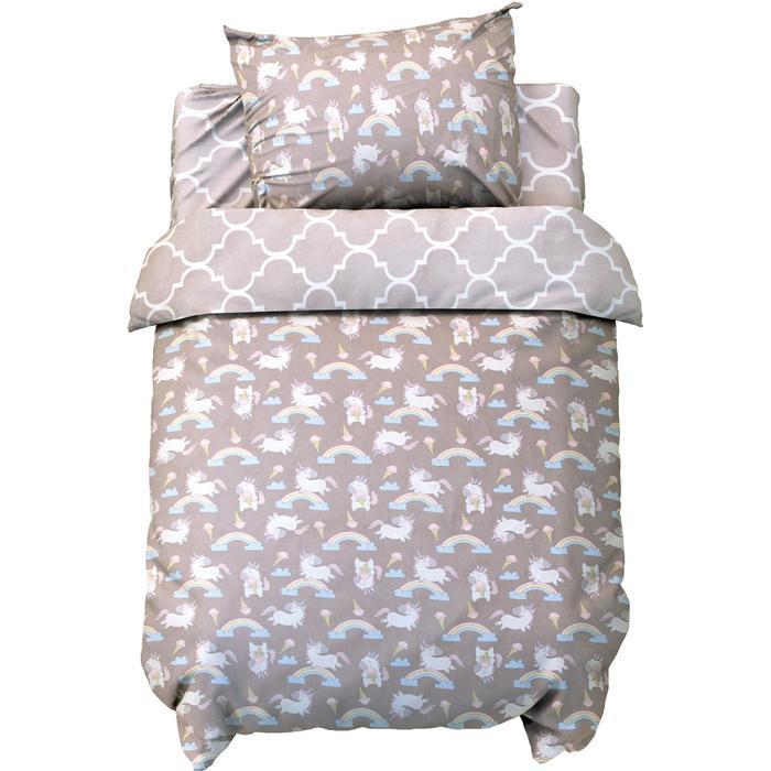 Постельное белье беби LoveLife «Серые единороги» 112*147 см, 60*120+20 см, 40*60 см - фото 816748