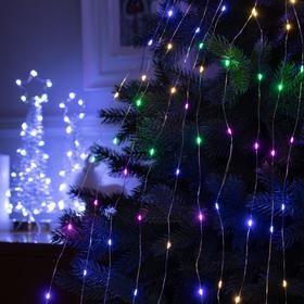 """Гирлянда """"Конский хвост"""" 10 нитей по 1 м , IP20, прозрачная нить, 100 LED, свечение RGB, переливы, 12 В - фото 7406707"""