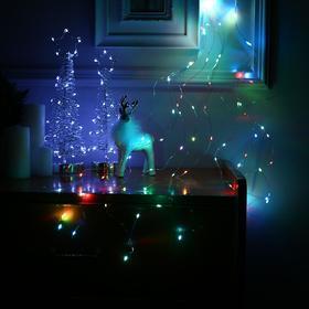 """Гирлянда """"Конский хвост"""" 10 нитей по 1 м , IP20, прозрачная нить, 100 LED, свечение RGB, переливы, 12 В - фото 7406709"""