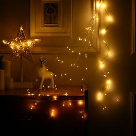 """Гирлянда """"Конский хвост"""" 10 нитей по 1 м , IP20, медная нить, 100 LED, свечение тёплое белое, фиксинг, 12 В - фото 7406717"""