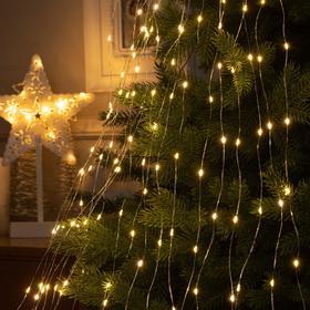 """Гирлянда """"Конский хвост"""" 20 нитей по 2 м , IP20, прозрачная нить, 400 LED, свечение тёплое белое, фиксинг, 12 В - фото 7406803"""