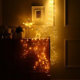 """Гирлянда """"Конский хвост"""" 20 нитей по 2 м , IP20, медная нить, 400 LED, свечение тёплое белое, фиксинг, 12 В - фото 7406813"""