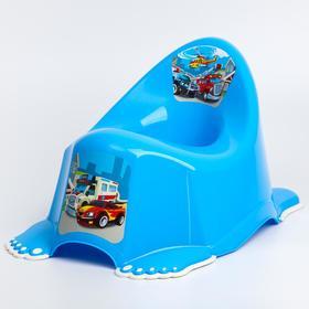 Горшок детский «Машинки» антискольз., цвет голубой