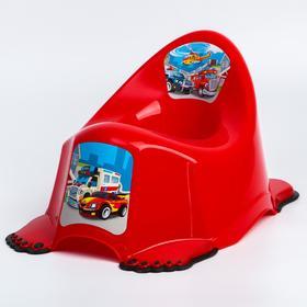 Горшок детский «Машинки» антискольз., цвет красный