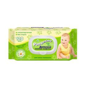 Влажные салфетки Pamperino детские с ромашкой, с пластиковым клапаном, 120 шт