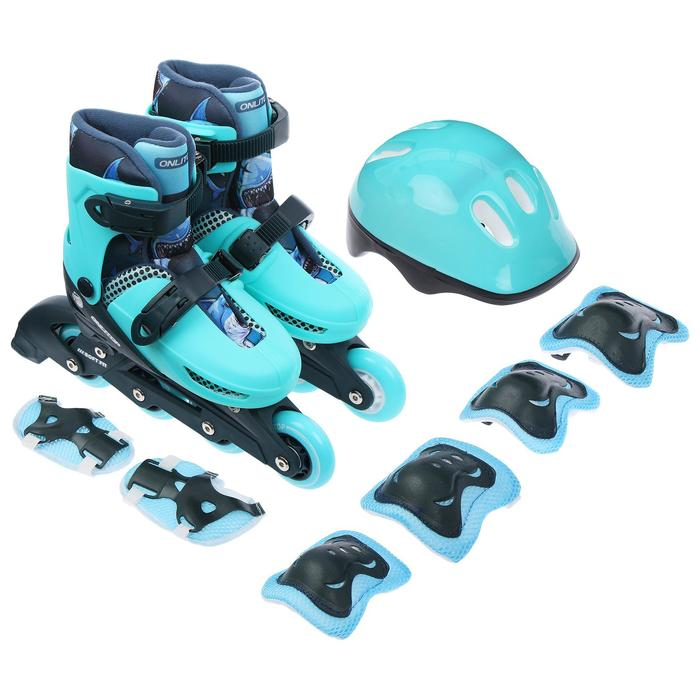 Набор Ролики раздвижные+защита, размер 30-33, колеса PVC 64 мм, пластиковая рама - фото 7407322