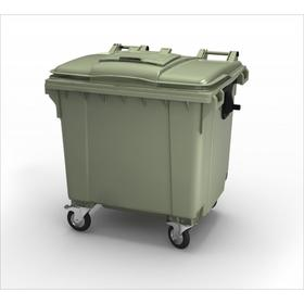 Передвижной мусорный контейнер 1100л. Темно-зелёный