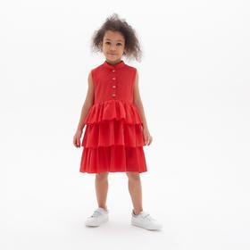 Платье для девочки с воланами MINAKU: Cotton collection цвет красный, рост 104