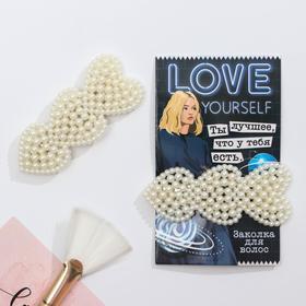 Заколка для волос на подложке Love, 5 х 2 см