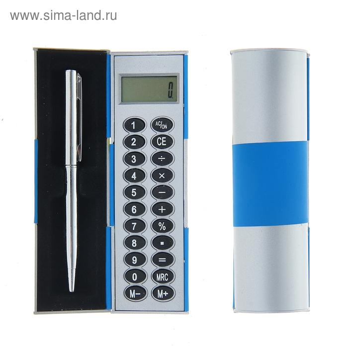 Калькулятор-футляр с ручкой 8-разрядный корпус синий-серый