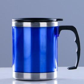 "Термокружка ""Таллер"", 450 мл,  сохраняет тепло 2 ч, синяя 11х12 см"