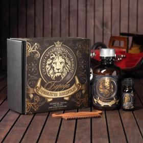Набор шампунь, масло и расческа для усов и бороды «Привилегия победителя», 14 х 15 см