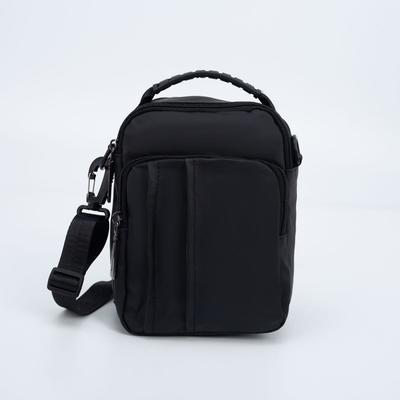 Сумка мужская, отдел на молнии, наружный карман, регулируемый ремень, цвет чёрный