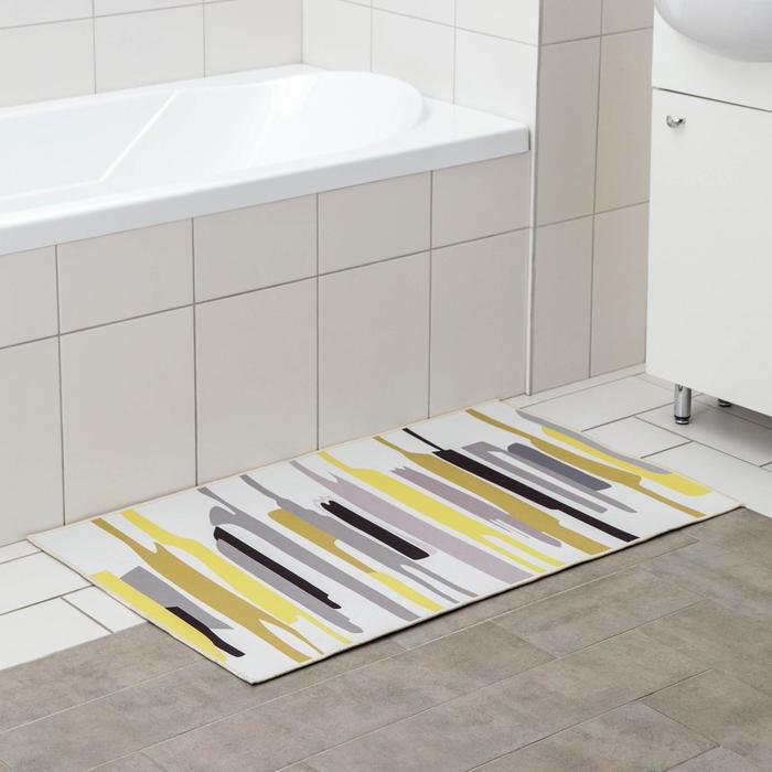 Коврик Доляна «Мила», 60×100 см, цвет серо-жёлтый