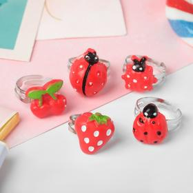 """Кольца детские """"Пальчики"""" (наб. 5шт) божьи коровки и ягодки, форма МИКС, цвет красный, безразмерные - фото 7586603"""