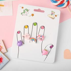 """Кольца детские """"Пальчики"""" (наб. 5шт) фантазия, форма МИКС, цветные, безразмерные - фото 7586606"""