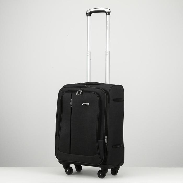 """Чемодан малый, 20"""", отдел на молнии, наружный карман, 4 колеса, цвет чёрный - фото 817523"""