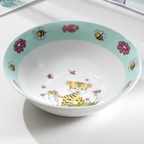 Набор детской посуды Доляна «Тигрёнок», 3 предмета: кружка 250 мл, миска 400 мл, тарелка 18 см - фото 7408047