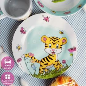 Набор детской посуды Доляна «Тигрёнок», 3 предмета: кружка 250 мл, миска 400 мл, тарелка 18 см - фото 7408048