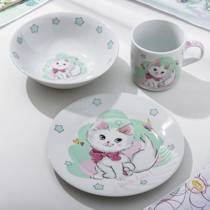 Набор детской посуды Доляна «Кошечка», 3 предмета: кружка 250 мл, миска 400 мл, тарелка 18 см